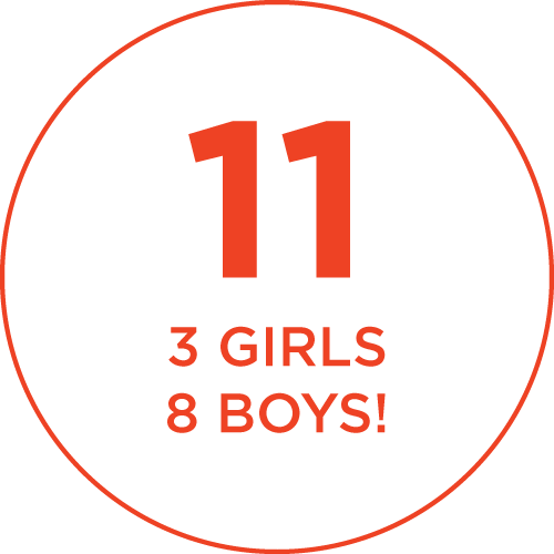 11: 3 girls, 8 boys